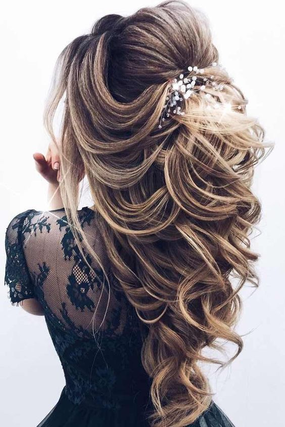 40 Special Occasion Hairstyles To Bring Out Your Charm Page 2 Style O Check Hair Styles Wedding Hair Half Long Hair Styles