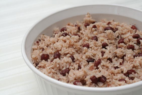 Rice and Peas - add coconut cream, fresh tyme and a scotch bonnet pepper.