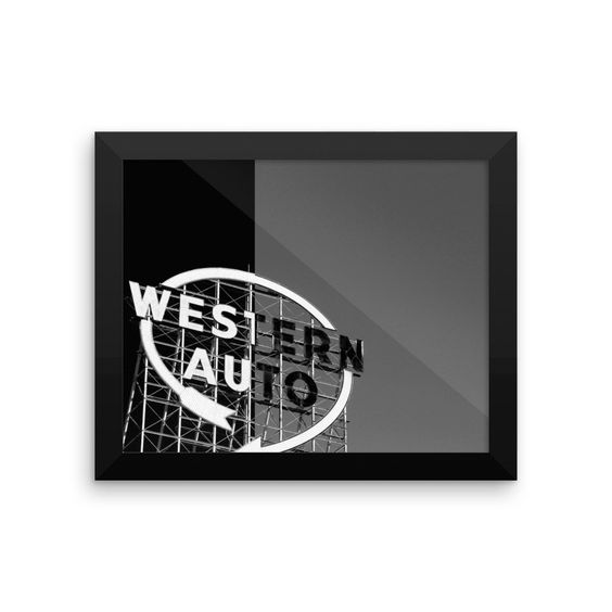 ART: Western Auto BW Framed Luster Poster
