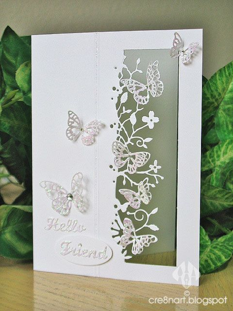 Butterflies and Wildflowers.pinned from cre8nart.blogspot.  She has some amazing cards using kensington border + other mb dies, but the site won't allow me to pin them.  Worth looking at!: