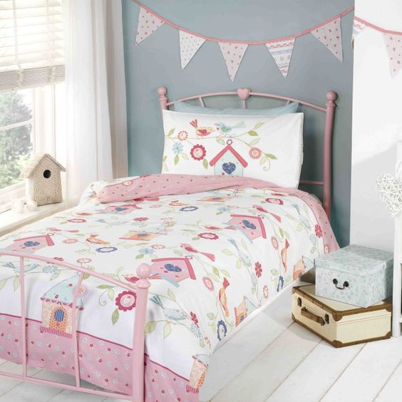 Birdhouses Duvet Cover | Duvet covers, Pink and Products