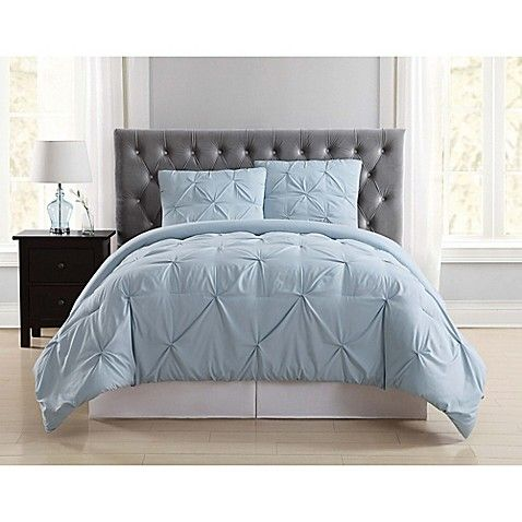 Truly Soft Pleated Twin Xl Comforter Set In Light Blue With