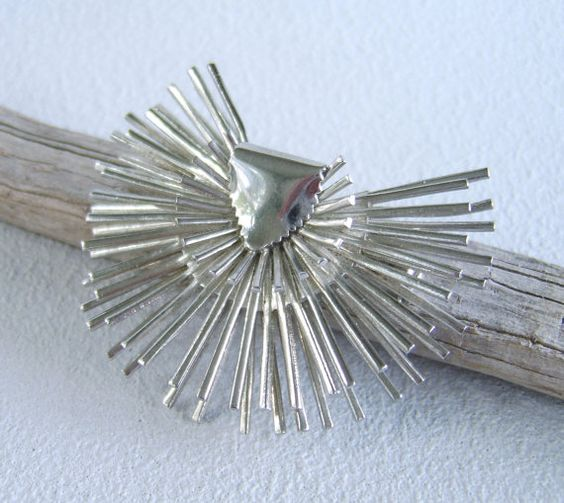 Vintage Silver Modernist Brooch Mid Century Pin by uncommonvintage, $21.00