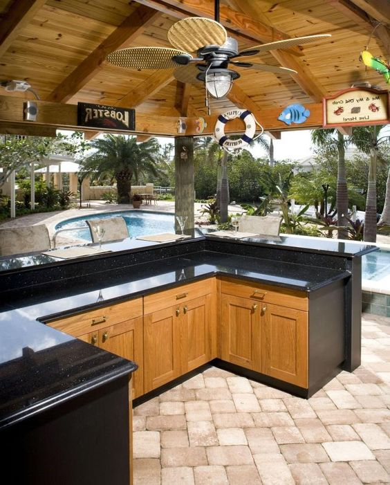 Amazing Outdoor Kitchens That You Might Have While Living: Modern Outdoor Kitchen W/Swimming Pool