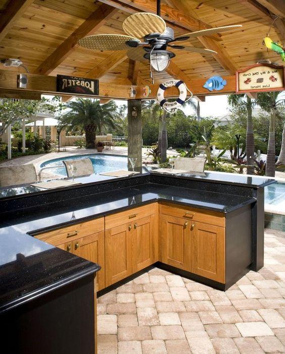 Modern Outdoor Kitchen W/Swimming Pool