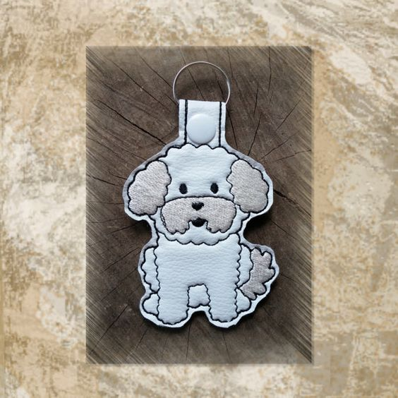bichon frise embroidered key fob key chain luggage tag bag clip vinyl key ring purse charm - Frise Vinyle
