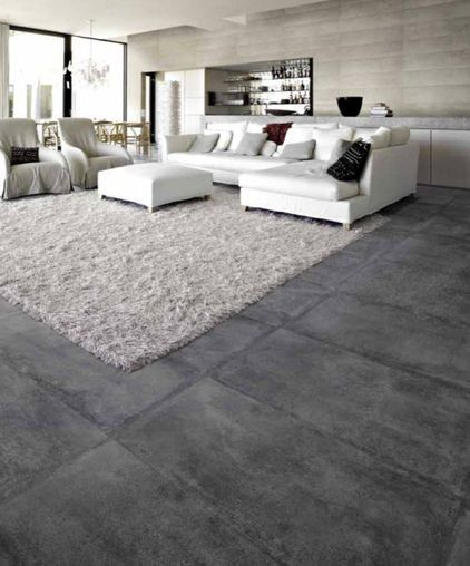 Tile Contemporary Living Rooms And Concrete Floors On