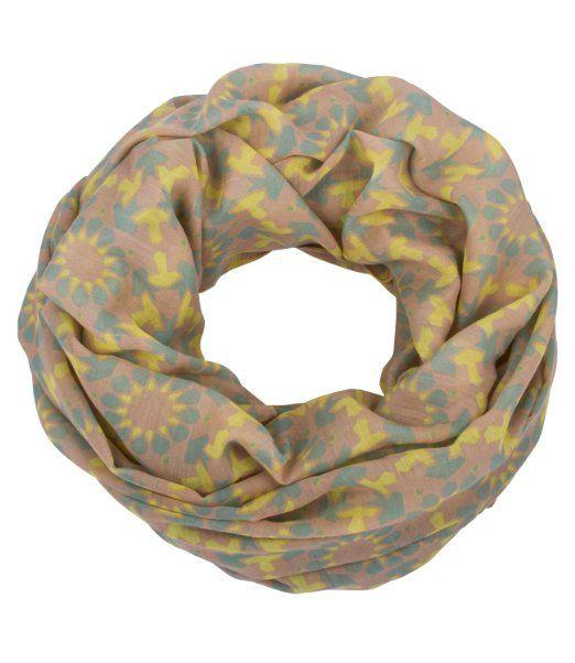 "SIX ""Babylime"" nudefarbener Loop mit geometrischem, mint-gelbem Muster (325-764): Amazon.de: SIX"