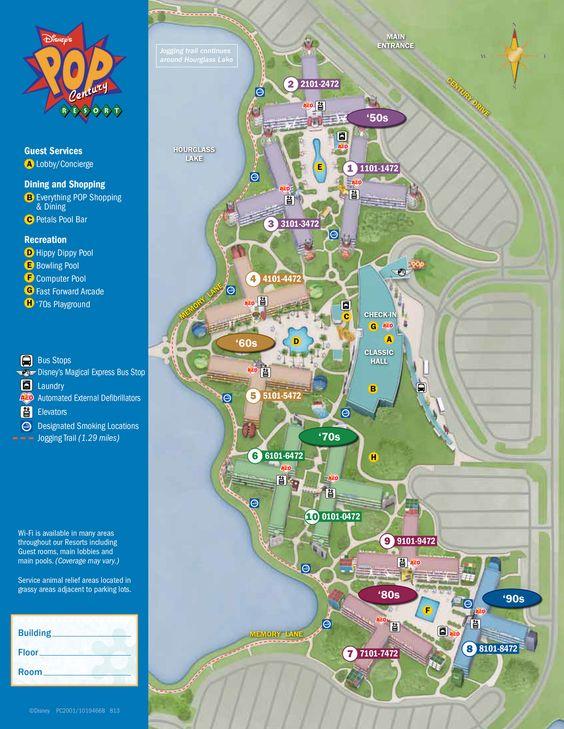 Disney's Pop Century Resort Map #DisneyResort #WaltDisneyWorld