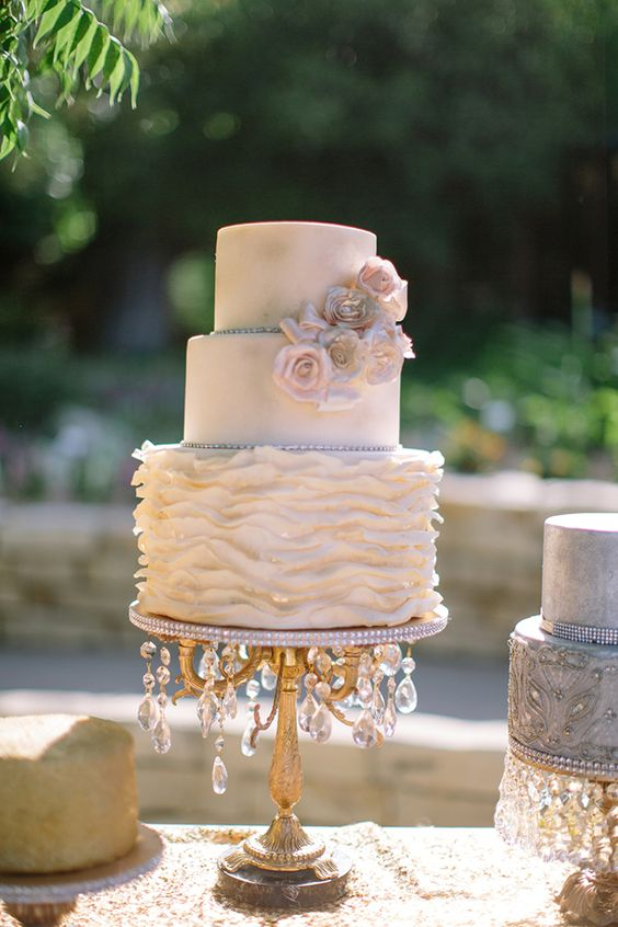 glamorous wedding cake stand vintage styled cake miller photography 14712