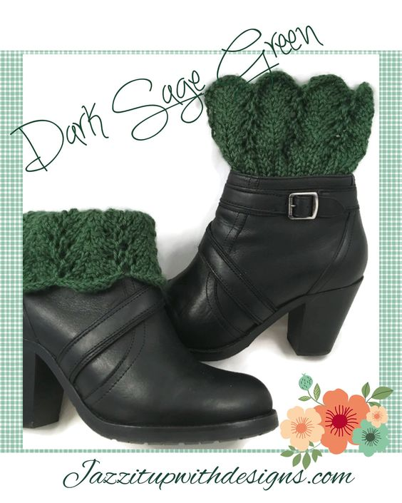 Ladies Boot Cuffs Dark Sage Green Lace Caron Simply Soft #cpromo