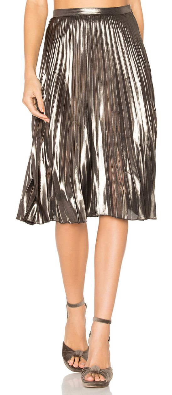 Love this metallic pleat skirt