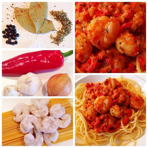 Spaghetti met kruidige garnalen. Gezond en zo lekker!