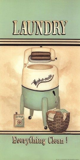 Vintage Illustratie-Affiche-Reclame ~Tekst: Laundry Wash-o-Matic Everything Clean~: