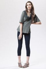 Perfect for this chilly summer day. Cigarette leggings - high waist, side zip, cropped leg.