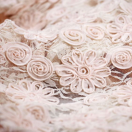 """Pink 3D Flower Lace Fabric Satin Lace Fabric 160cm 63"""" 