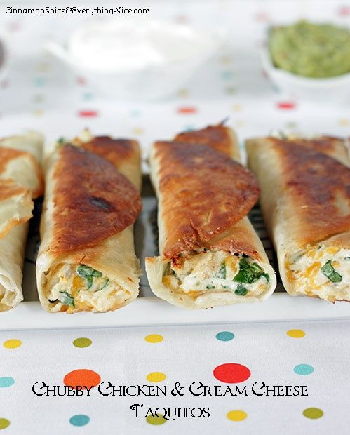 Chubby Chicken and Cream Cheese Taquitos ~ Tortillas rolled with a ...