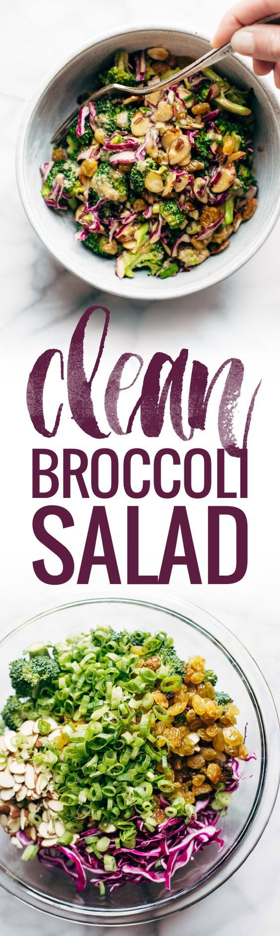 CLEAN Broccoli Salad - non-mayo-based vegan goodness! with purple cabbage, raisins, almonds, green onions, and a creamy almond butter dressing. seriously yummy! | pinchofyum.com