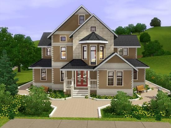 Large Family House With 2 Floors Found In Tsr Category Sims 3 Residential Lots Sims House Sims House Design Sims 3 Houses Ideas