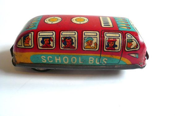 Vintage Tin Lithograph Toy School Bus Japan by vintagereinvented,