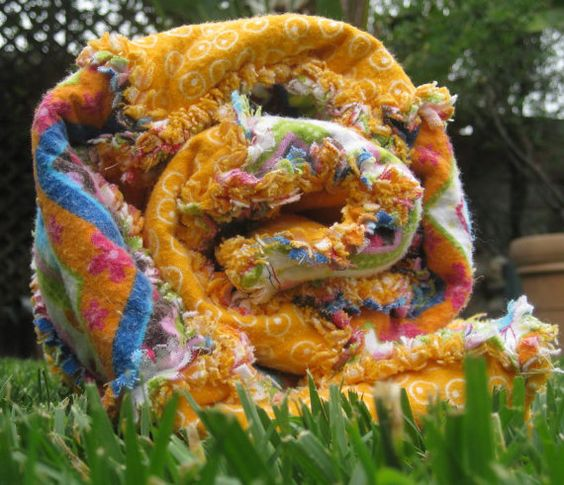 Bright and Bold Baby Rag Quilt  An Adoption by JJandCompany, $45.00