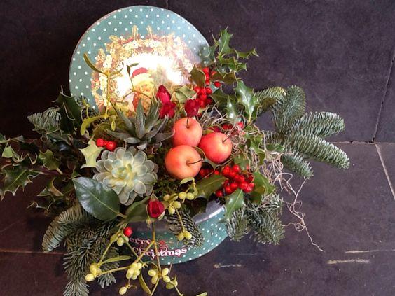 Caja de papanoel con flores