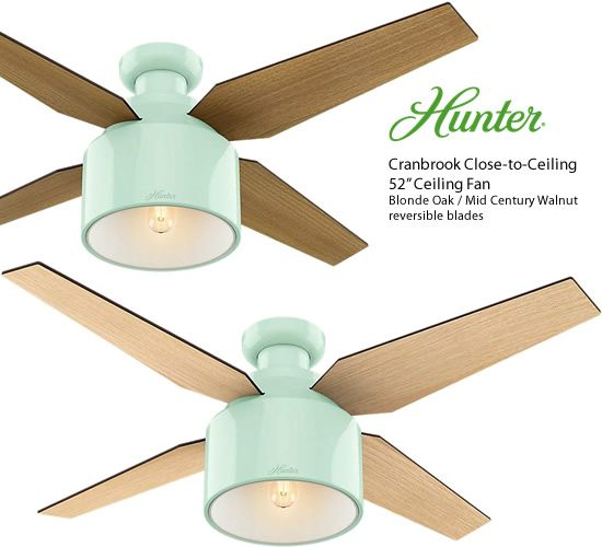 Hunter 59260 Mint Cranbrook Low Profile Close To Ceiling 52