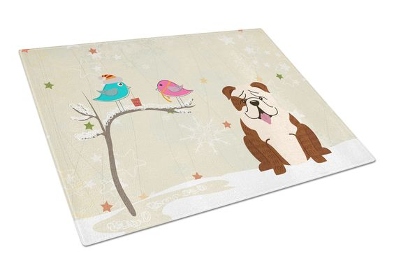 Christmas Presents between Friends English Bulldog Brindle White Glass Cutting Board Large BB2593LCB