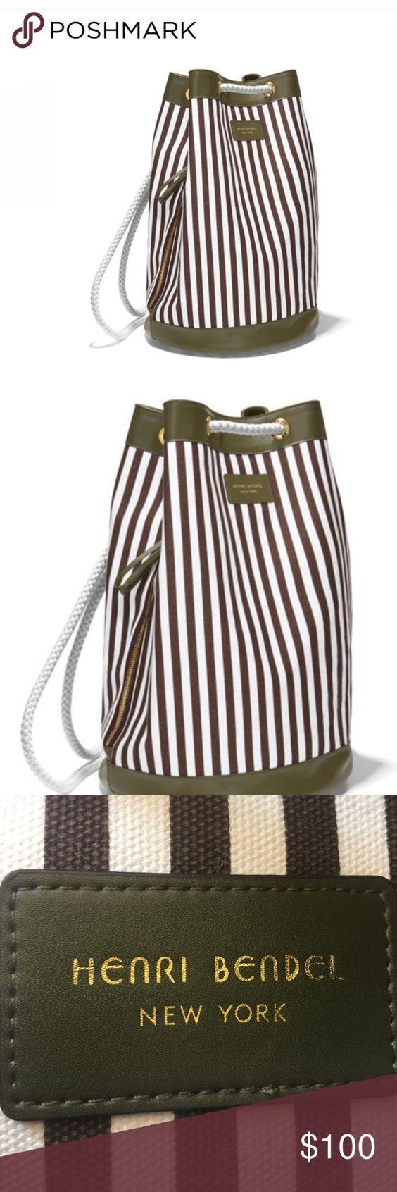 Henri Bendel Canvas Backpack Henri Bendel Olive Green and White canvas backpack.  BRAND NEW. henri bendel Bags Backpacks