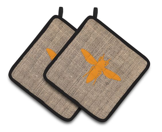 Yellow Jacket Faux Burlap and Orange Pair of Pot Holders BB1053-BL-OR-PTHD