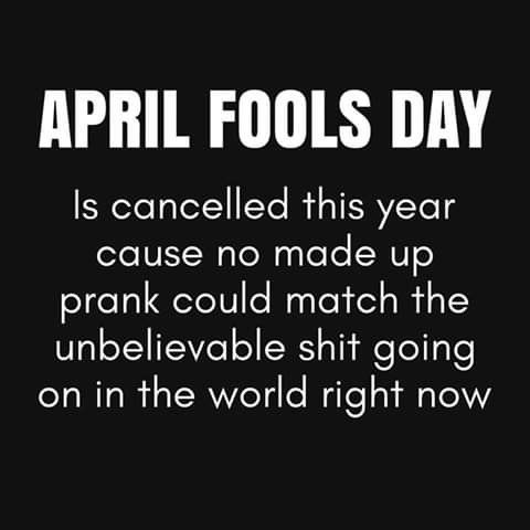 April Fools Day Is Cancelled This Year Cause No Made Up Prank Could Match The Unbelievable Shit Going On In The In 2020 Funny Quotes Sarcastic Quotes April Fools Memes