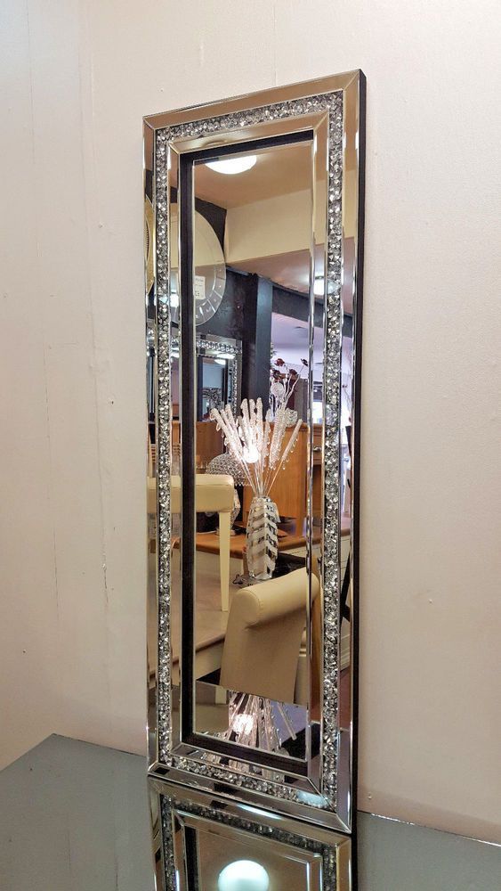Gatsby Crushed Diamond Crystal Glass Silver Frame Bevelled Wall Mirror 120x40cm Mirrored Furniture Decor Contemporary Mirror Crushed Diamonds