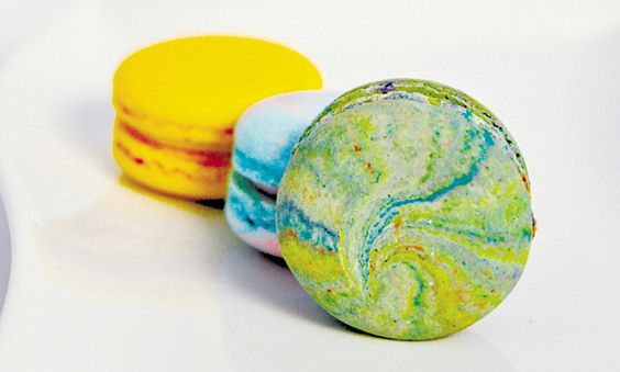 Lilikoi, Cotton Candy and Psychedelic Vanilla macarons from FLOUR + BUTTER BAKERY