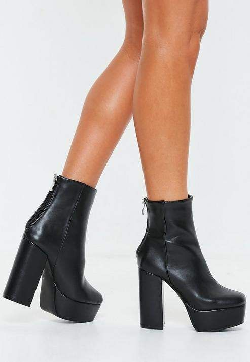 Missguided Black Chunky Platform Boots