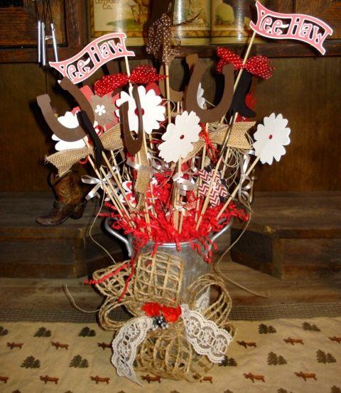Mason Jar Party Decorations: COWBOY WESTERN MASON JAR CENTERPIECE USING CRICUT CUTS