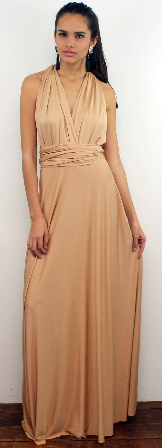 Gorgeous Nude Multiway Long Dress