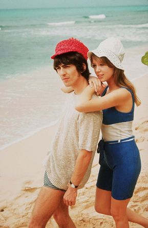 ♡♥George Harrison with his new wife Pattie Boyd 21 relax on their honeymoon on the beach in Barbados on Feb 14th,1966♥♡