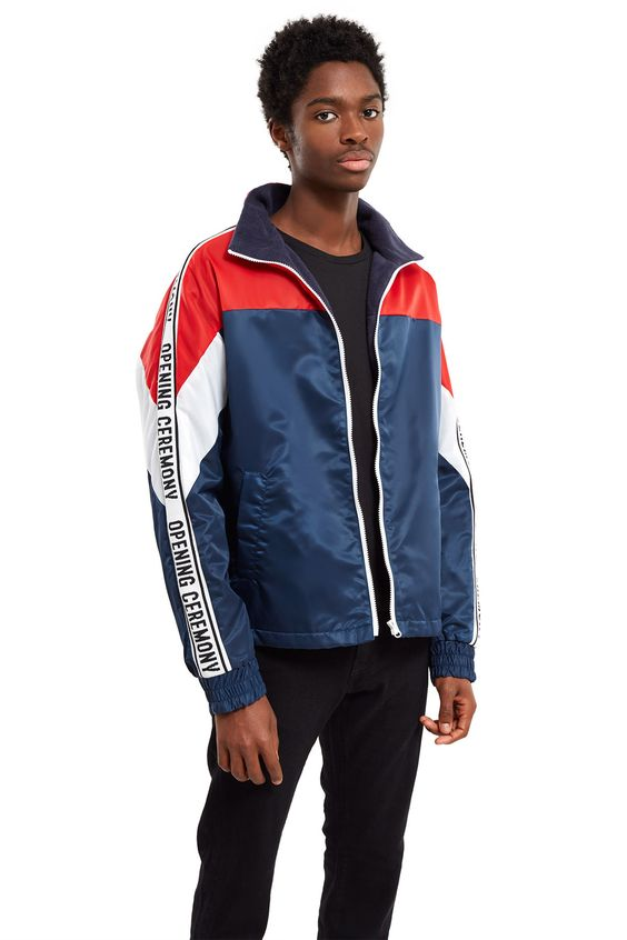 Opening Ceremony, Nylon Twill Logo Jacket , Logo banding down sleeves, Front zipper closure, Stand collar, Side pockets, Elasticated cuffs, Warm fleece lining, Body: 100% nylon; lining: 100% polyester, Imported