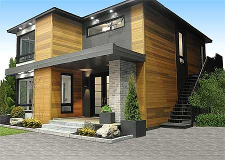 Hillside and view lot modern home plans small lot house for Modern home plans canada