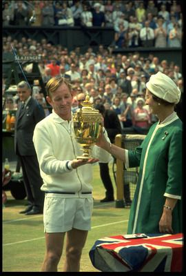 """Australian Rod ''Rocket"""" Laver (1938) Wins 1968 Wimbledon Mens singles Tennis Final. Called the greatest tennis player of the 20th century for good reason. He holds the record for most singles titles won in the history of tennis, with 200 career titles. Ranked World No. 1 for 7 consecutive years, from 1964-1970. The only player in the history of tennis to win two Grand Slams—taking the singles titles of the Australian Open, French Open, Wimbledon, & the U.S. Open in a single year."""