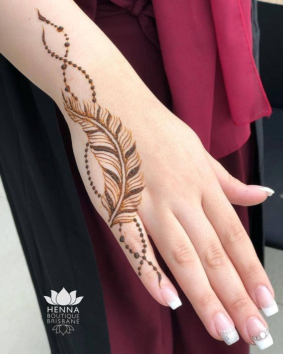 Latest Simple Leaf Henna Designs for Hands