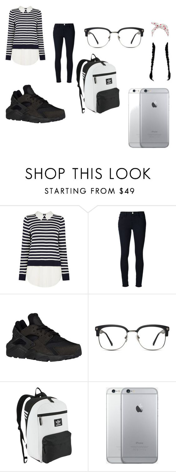"""""""Back-To-School Style#6"""" by lifeissweet170000 ❤ liked on Polyvore featuring Frame Denim, NIKE, GlassesUSA and adidas Originals"""