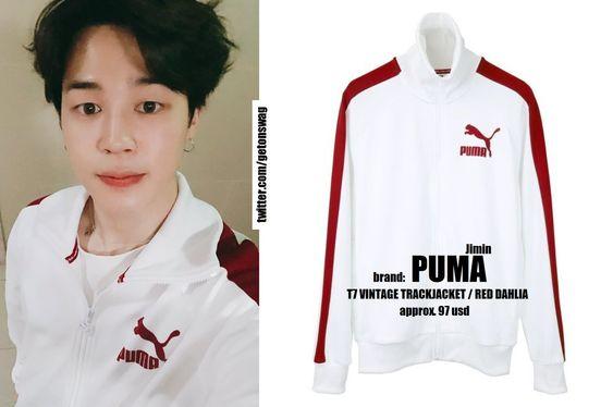 180604  [ JIMIN #JIMIN  #BTS #지민 #방탄소년단 ]    PUMA t7 vintage track jacket white red dahliapic.twitter.com/kKyMlJwf1c