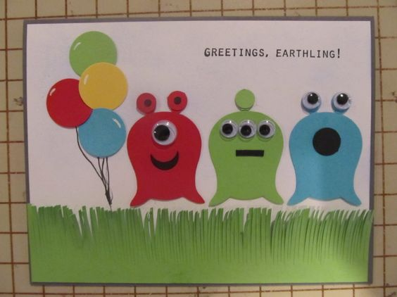 alien card made with owl punch--pretty sure i pinned this one already, but it's so cute i wan to make sure.