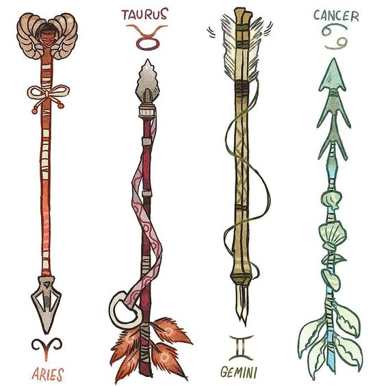regram @_picolo Zodiac Arrows! (1/3) DESCRIPTION BELOW Aries were the vanguard they invented the custom arrows. The purpose of the horns was to stake their claim on the target or territory. Taurus arrows are tied together with a lace that has a bull's nose ring at its end. Taurus are stubborn and don't ever give up so their arrow can be used as a spear if the fight demands it. Gemini made their arrows so that they would avoid routine and boredom. So as they're extremely thin Gemini arrows...
