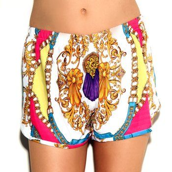 Neon-tinged, rococo-inspired scarf-print shorts are an ideal choice for summer weekends.