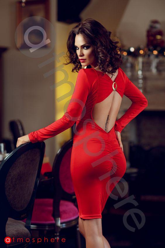 Promotie Outlet: Rochie trei sferturi rosie lycra si dantela bust Rn 127