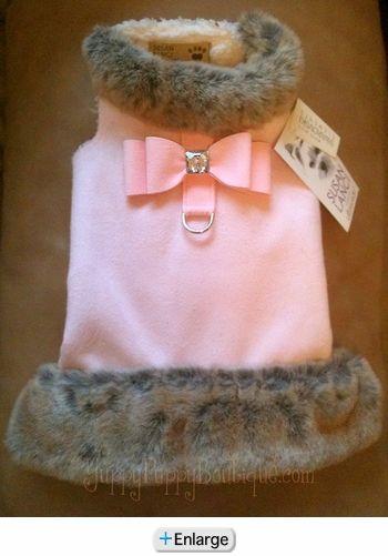 Susan Lanci Tissavel Fur Coat - Puppy Pink Crystal Big Bow
