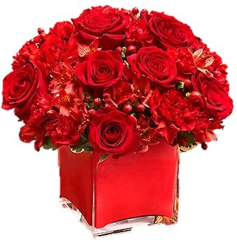 centerpieces- red roses, red carnations with more green and accents of yellows and whites....red wedding flowers  myfloweraffair.com: