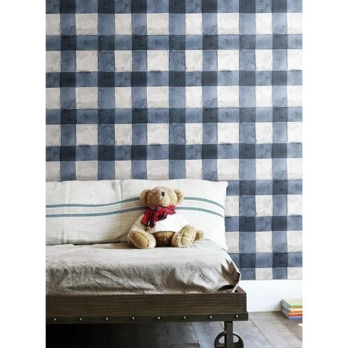 Buffalo Plaid Peel Stick Wallpaper Blue Roommates Target Peel And Stick Wallpaper Plaid Wallpaper Wallpaper